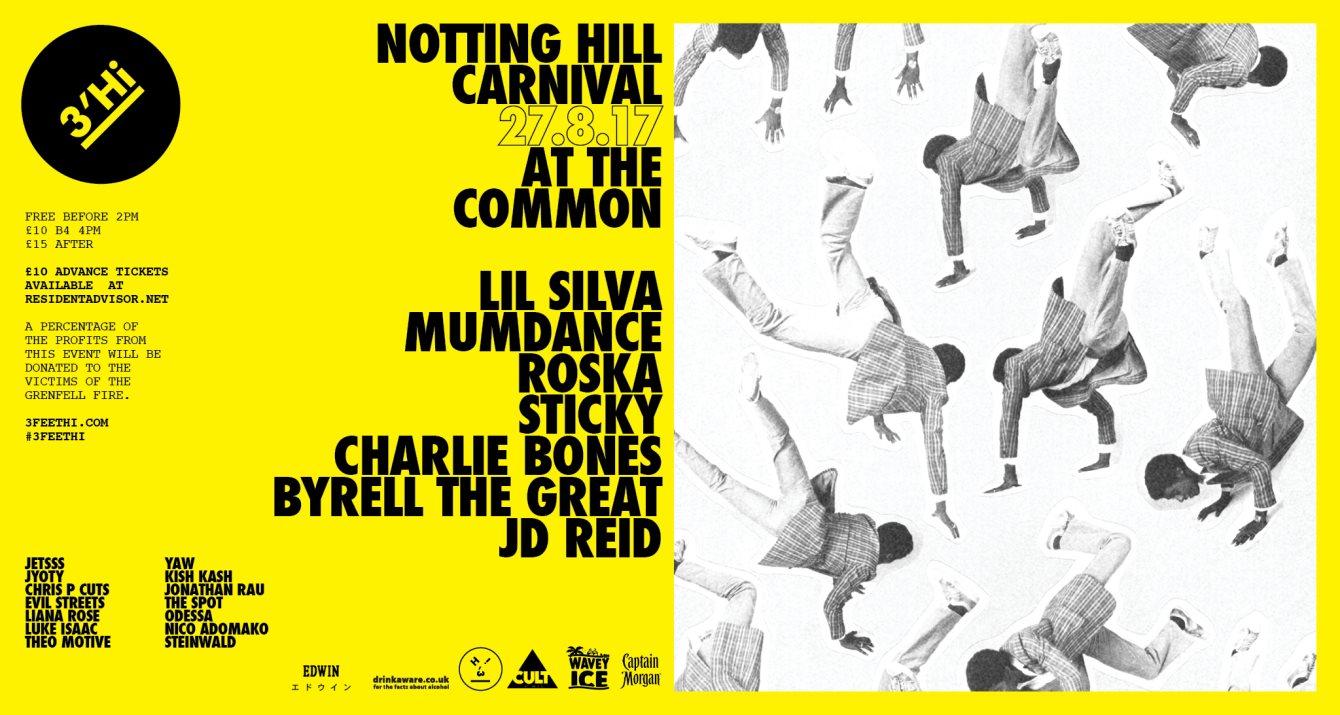 3'Hi - Carnival Special - Lil Silva, Mumdance, Roska, Sticky, Charlie Bones, Byrell The Great - Flyer front
