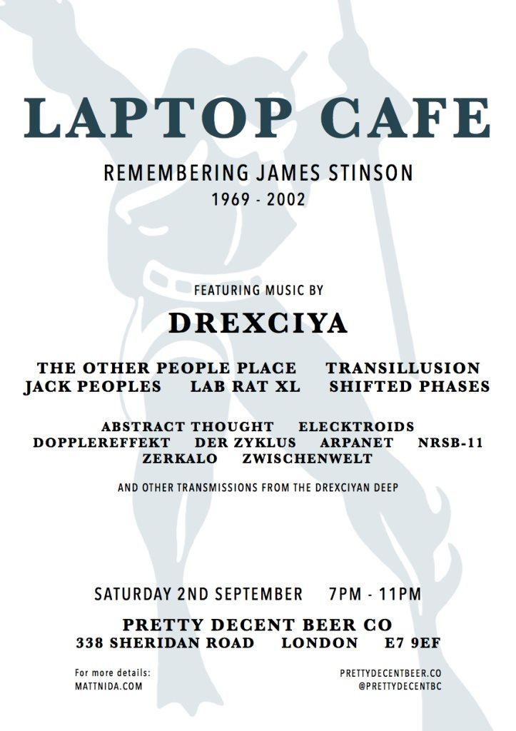 Laptop Cafe: Remembering James Stinson - Flyer front