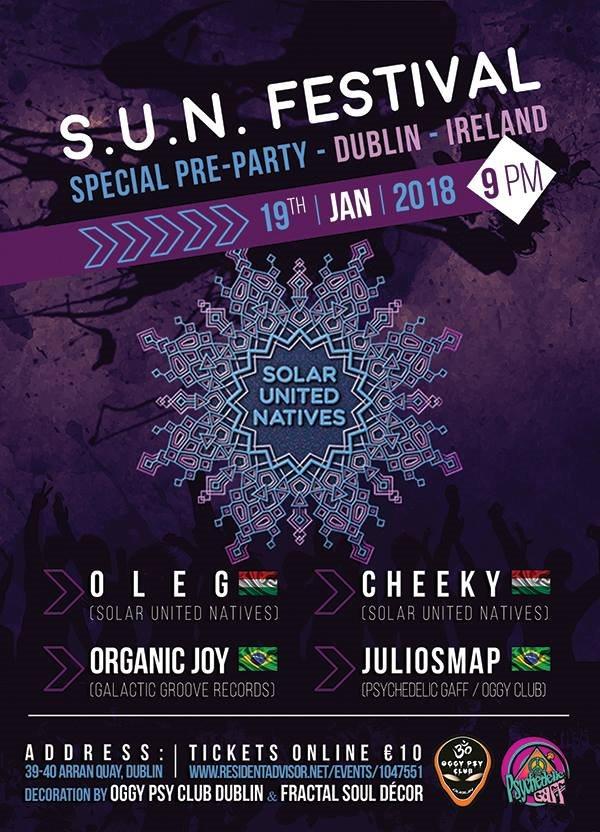 SUN Festival Special pre-Party in Dublin - Flyer back