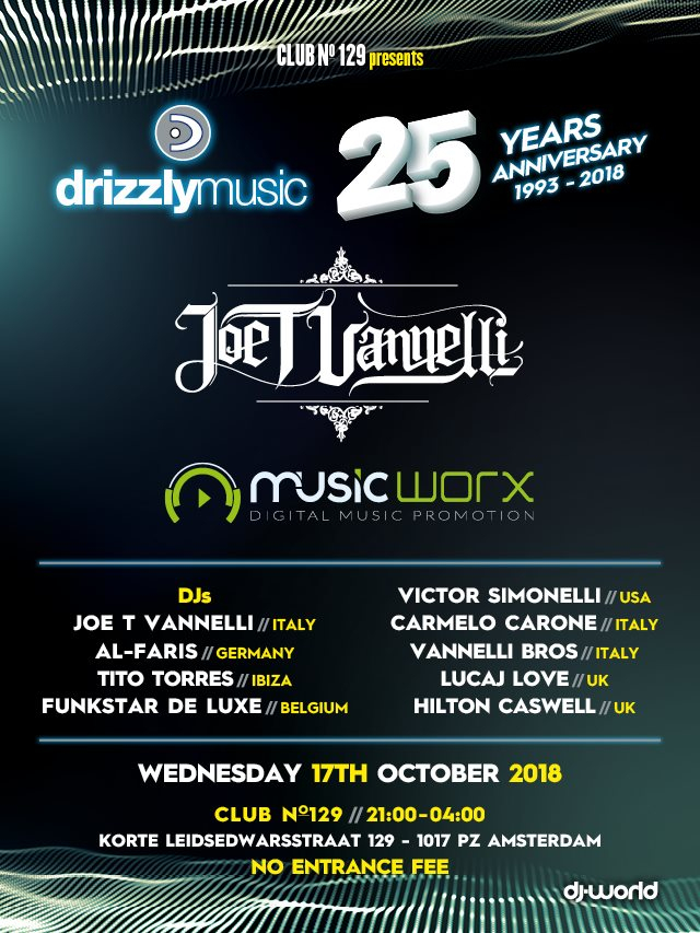 ADE - Drizzly Music 25th Anniversary - Flyer front