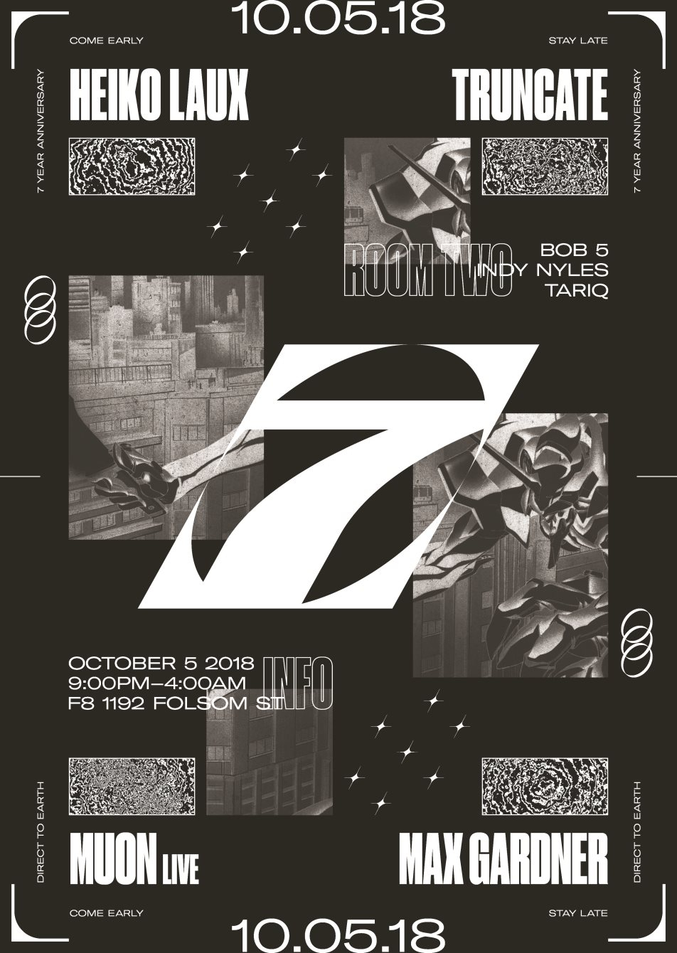 7 Years of Direct to Earth with Heiko Laux and Truncate - Flyer back