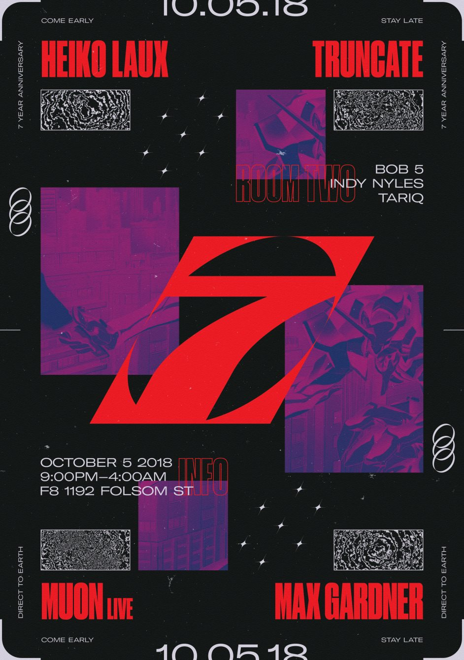 7 Years of Direct to Earth with Heiko Laux and Truncate - Flyer front
