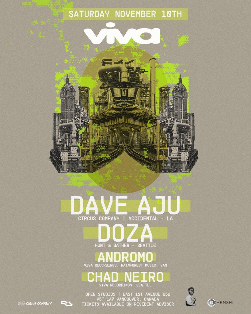 Viva Recordings presents Dave Aju (Circus Company, LA) & Doza (Hunt & Gather, Seattle) - Flyer front