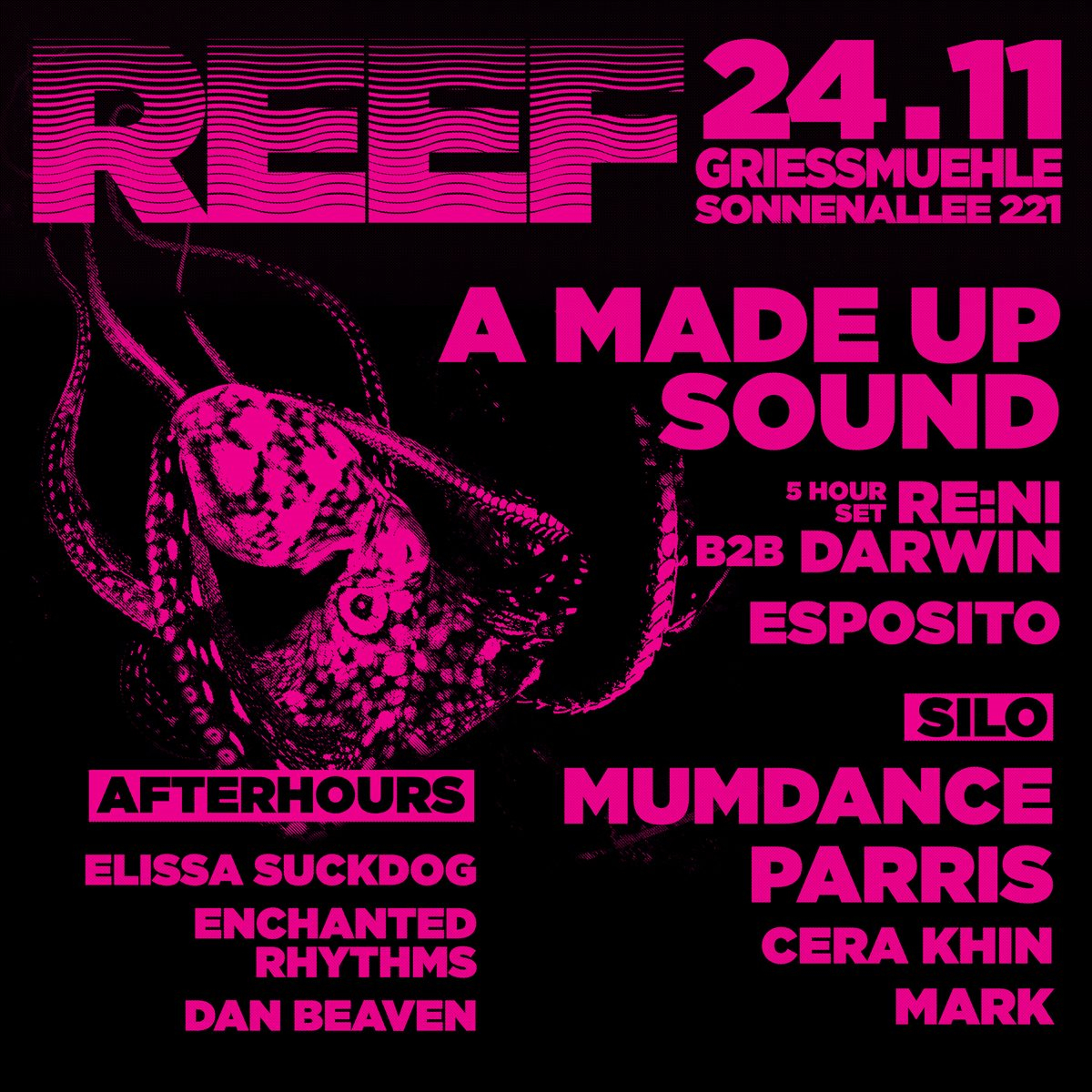 Reef with A Made Up Sound, Mumdance, Parris, Cera Khin & re:ni - Flyer front