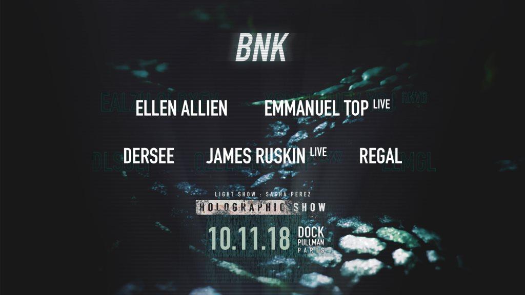 BNK: UFO with Ellen Allien, Emmanuel Top Live, Dersee, James Ruskin Live, Regal - Flyer front