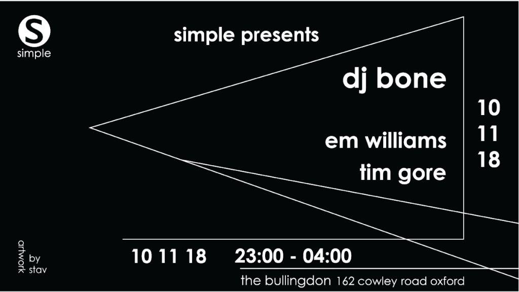 Simple presents DJ Bone (3-Hour set) - Flyer front