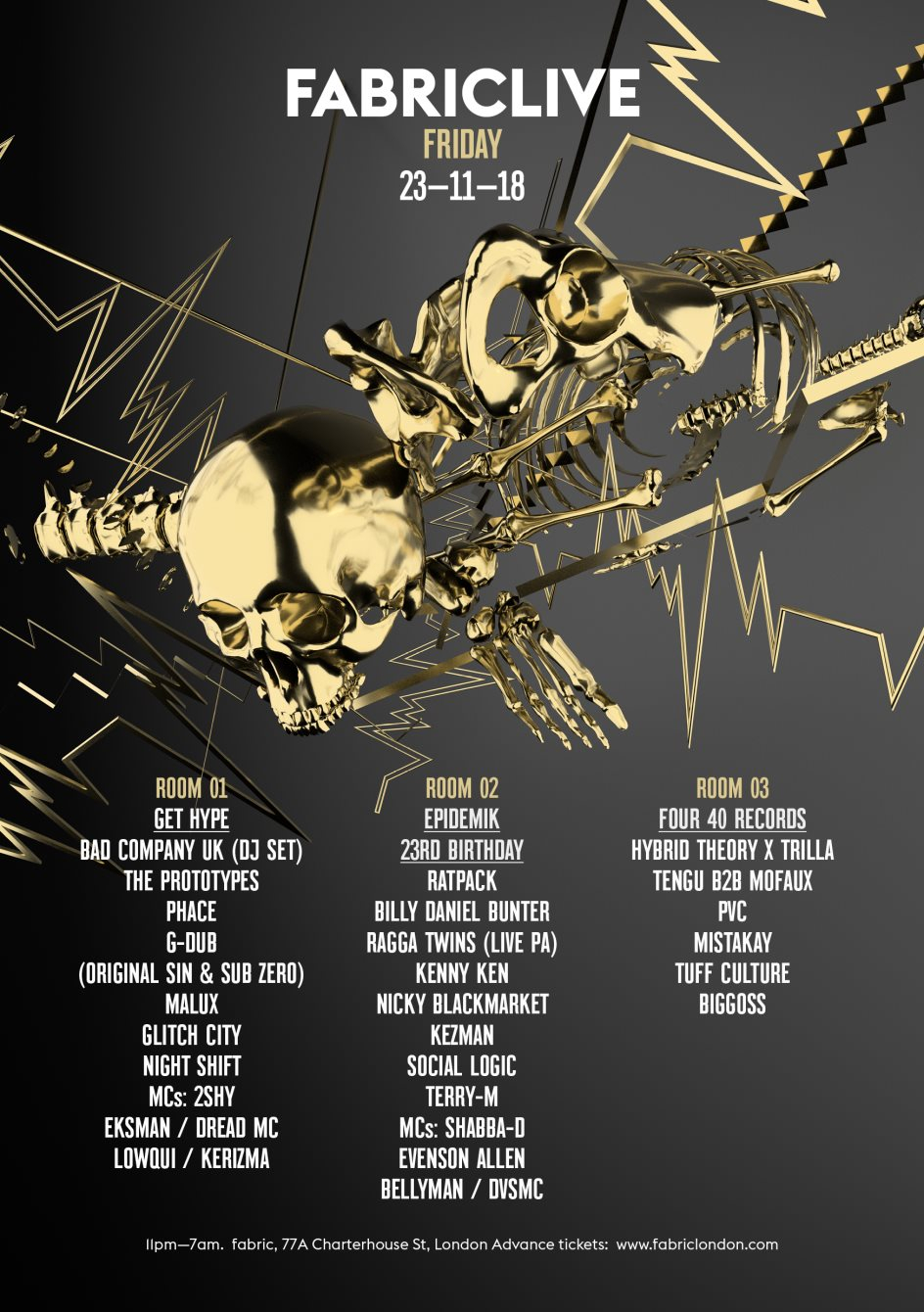 FABRICLIVE: Get Hype, Epidemik 23rd Birthday & Four 40 Records - Flyer back