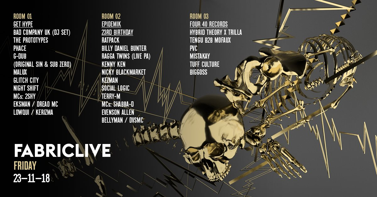 FABRICLIVE: Get Hype, Epidemik 23rd Birthday & Four 40 Records - Flyer front
