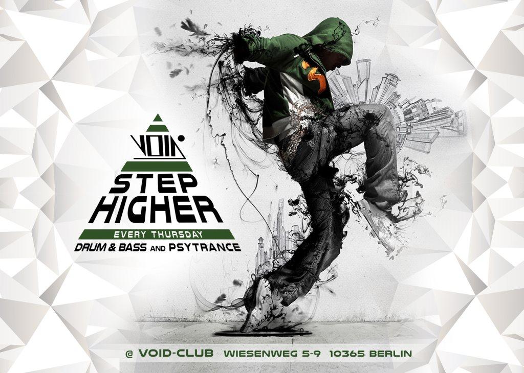 Step Higher (Drum & Bass / Psytrance) - Flyer front
