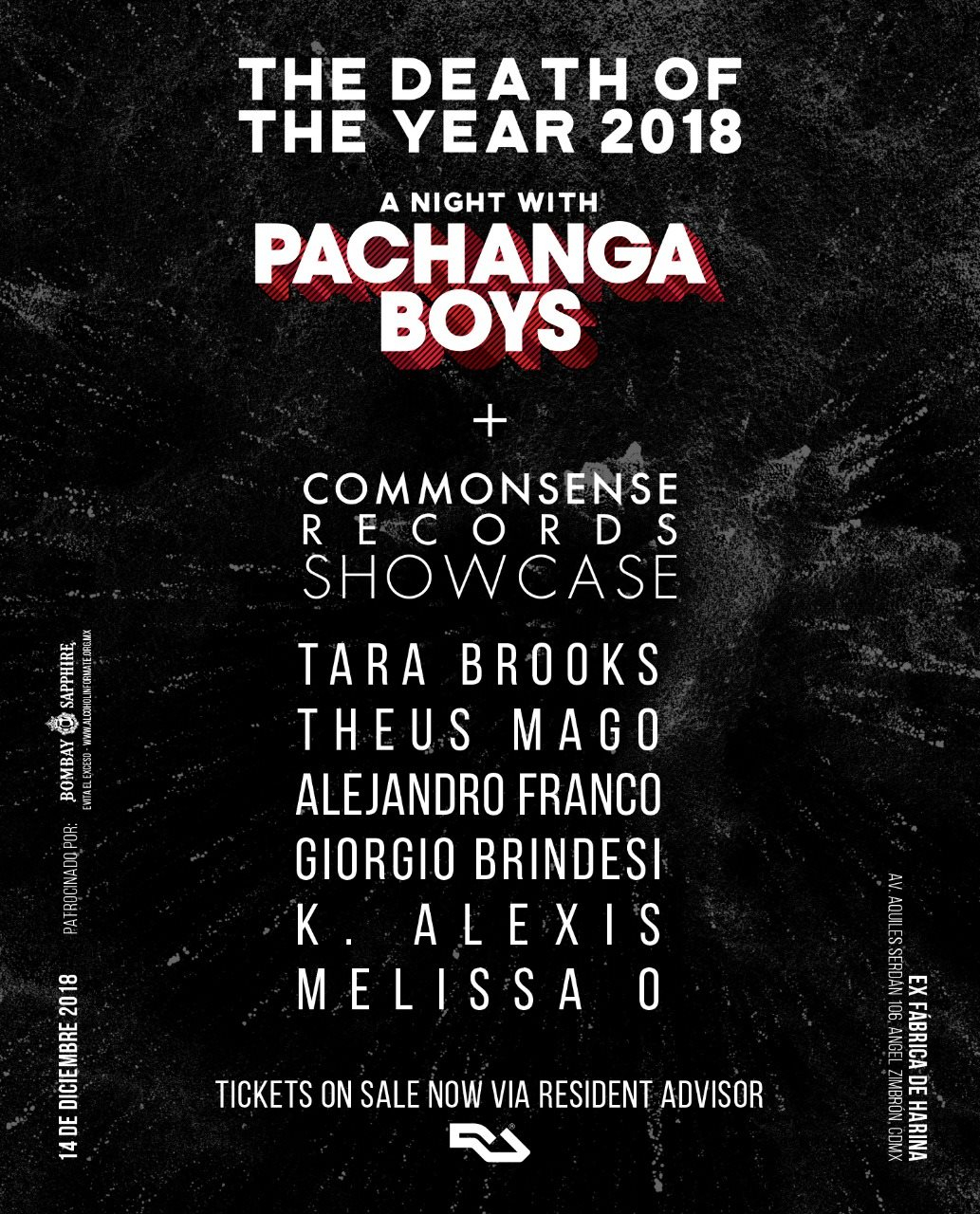 A Night with Pachanga Boys - The Death Of The Year 2018 - Flyer front