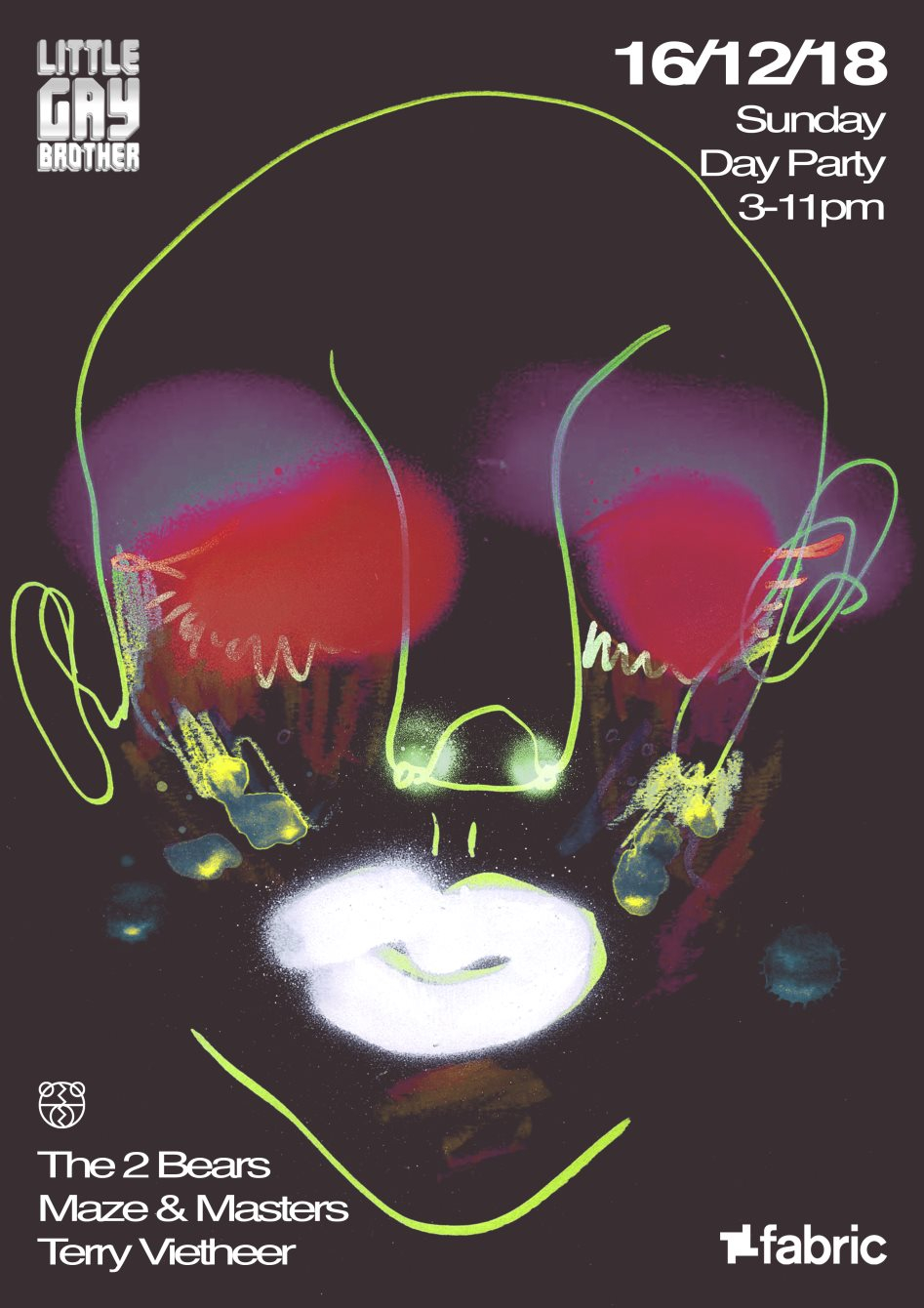 Sundays at fabric: Little Gay Brother Christmas Rave with The 2 Bears, Maze & Masters - Flyer back