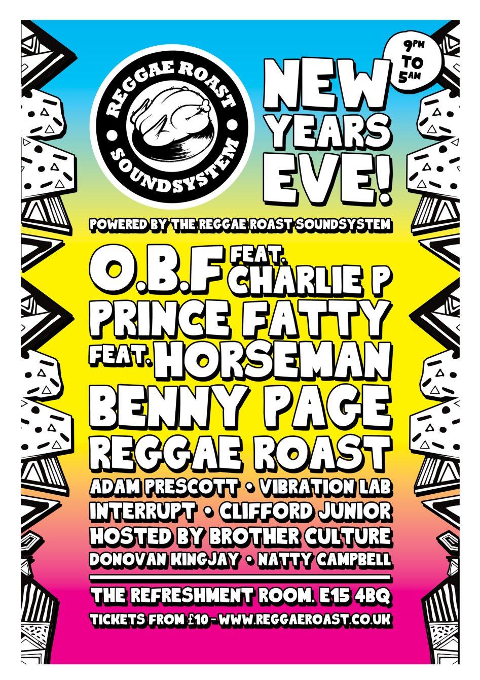 Reggae Roast Soundsystem NYE 2018 - Flyer front