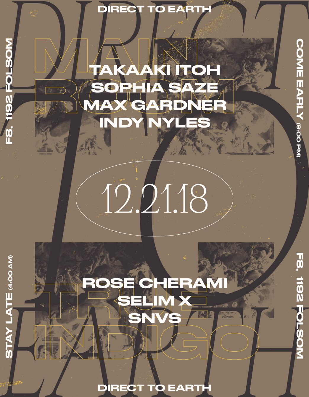 Direct to Earth with Takaaki Itoh, Sophia Saze, True Indigo, Max Gardner & Indy Nyles - Flyer front