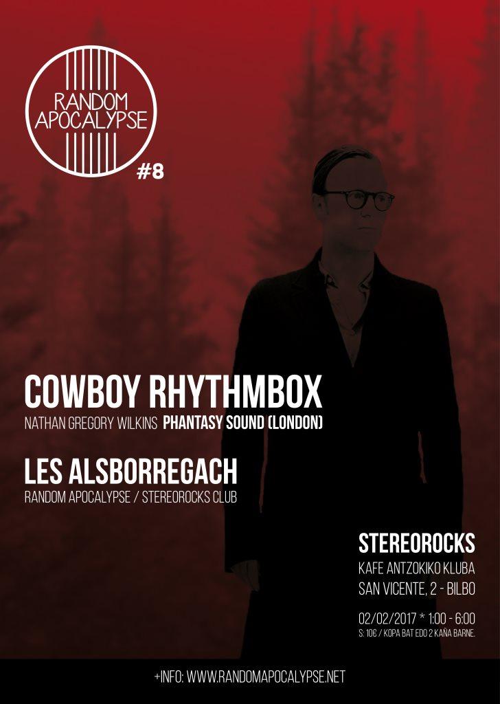 Stereorocks - Random Apocalypse #8: Cowboy Rhythmbox + Les Alsborregach - Flyer front