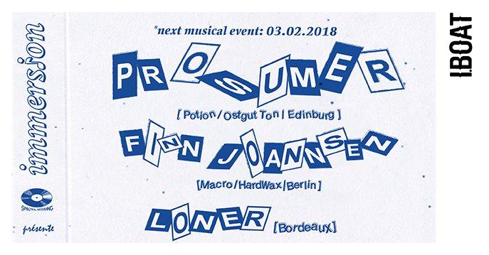 Immersion: Prosumer, Finn Johannsen, Loner - Flyer front