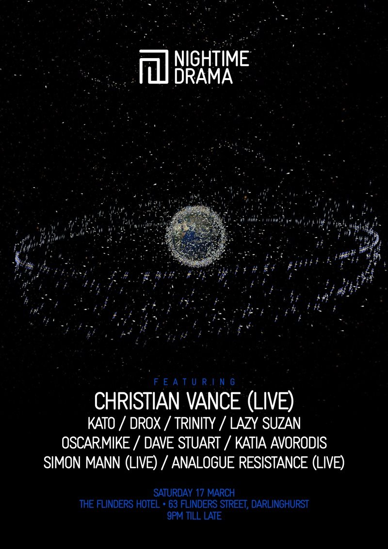 Nightime Drama - Electro x Techno - with Christian Vance Live - Flyer front