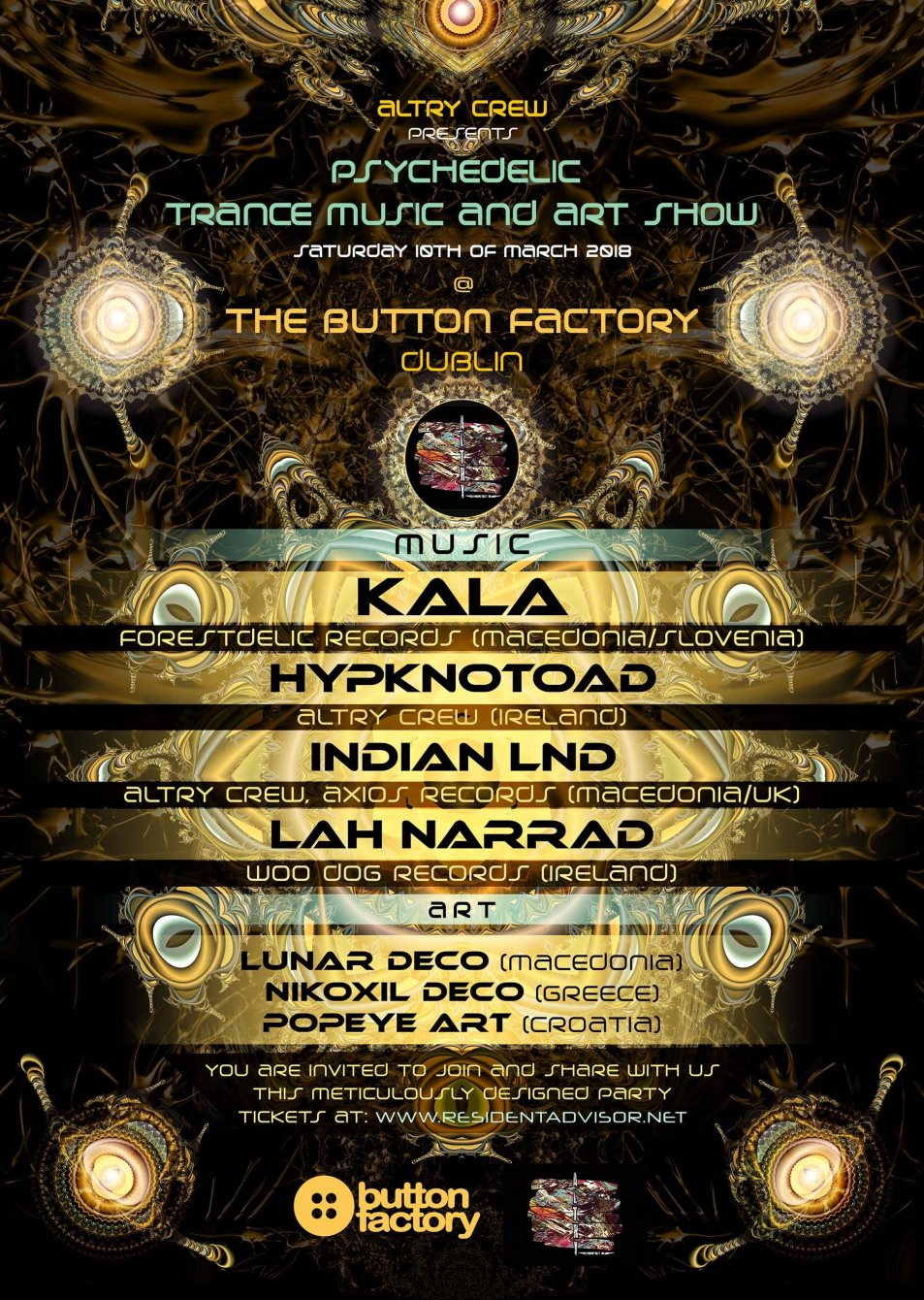 Psychedelic Trance Music and Art Show - Flyer front