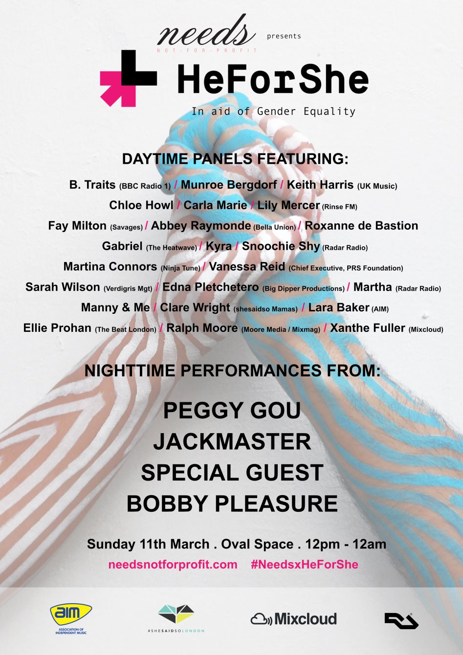 Needs x HeForShe with Jackmaster, Peggy Gou, B Traits, Munroe Bergdorf & Many More - Flyer front