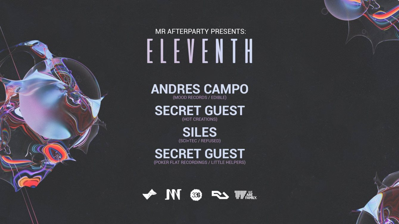 Mr Afterparty presents - Eleventh - An 11hr Day & Night Event - Flyer front