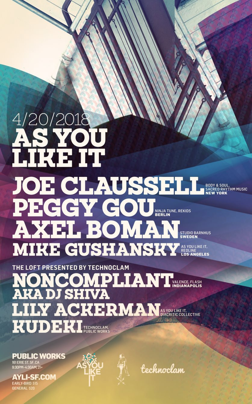 Ayli with Joe Claussell, Peggy Gou, Axel Boman and technoclam Loft with Noncompliant - Flyer back