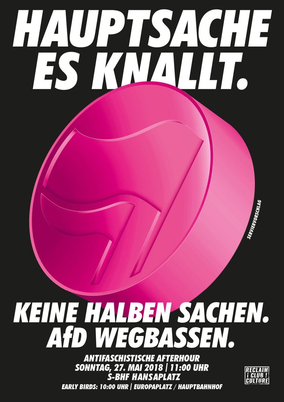 AfD Wegbassen - Berlin Against Nazis - Flyer front