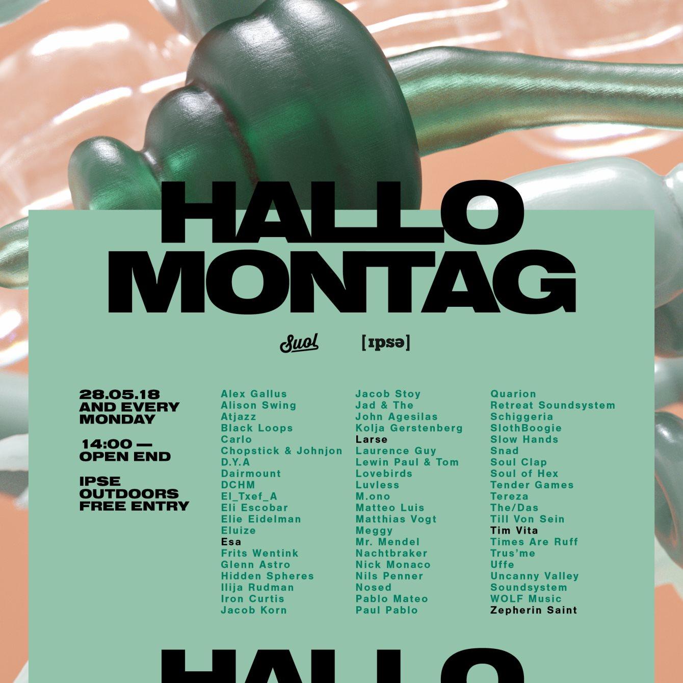 Hallo Montag - Open Air #05 with Esa, Larse, Zepherin Saint and Tim Vitá - Flyer front
