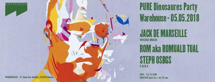 Pure Dinosaures Party w. Jack De Marseille - Flyer front