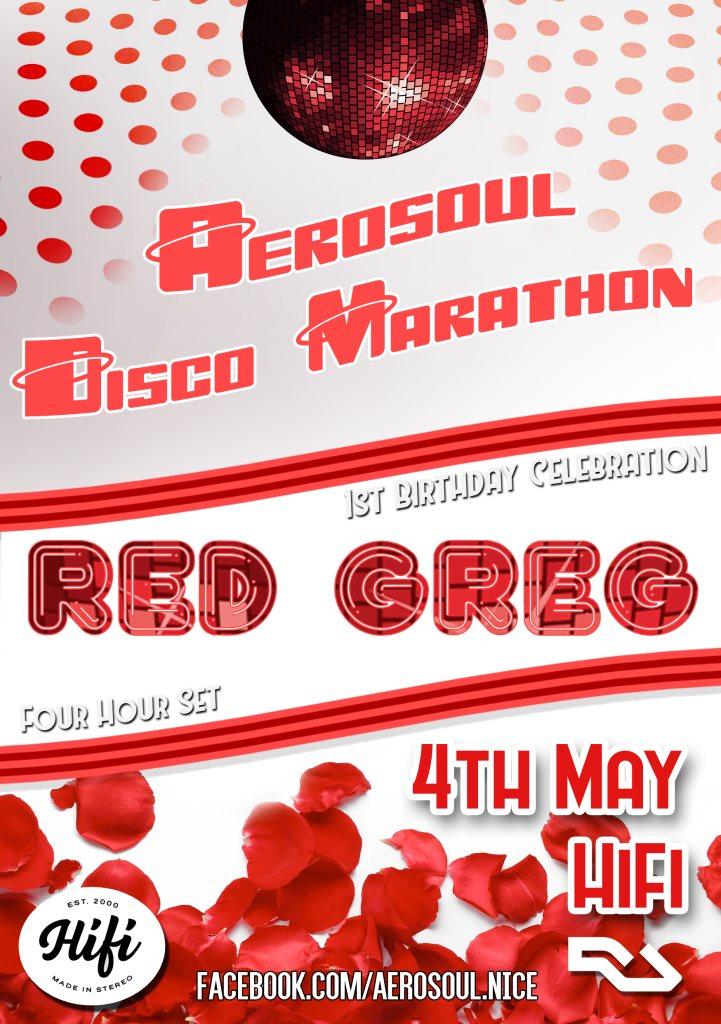 AeroSoul Disco Marathon with Red Greg - Flyer front