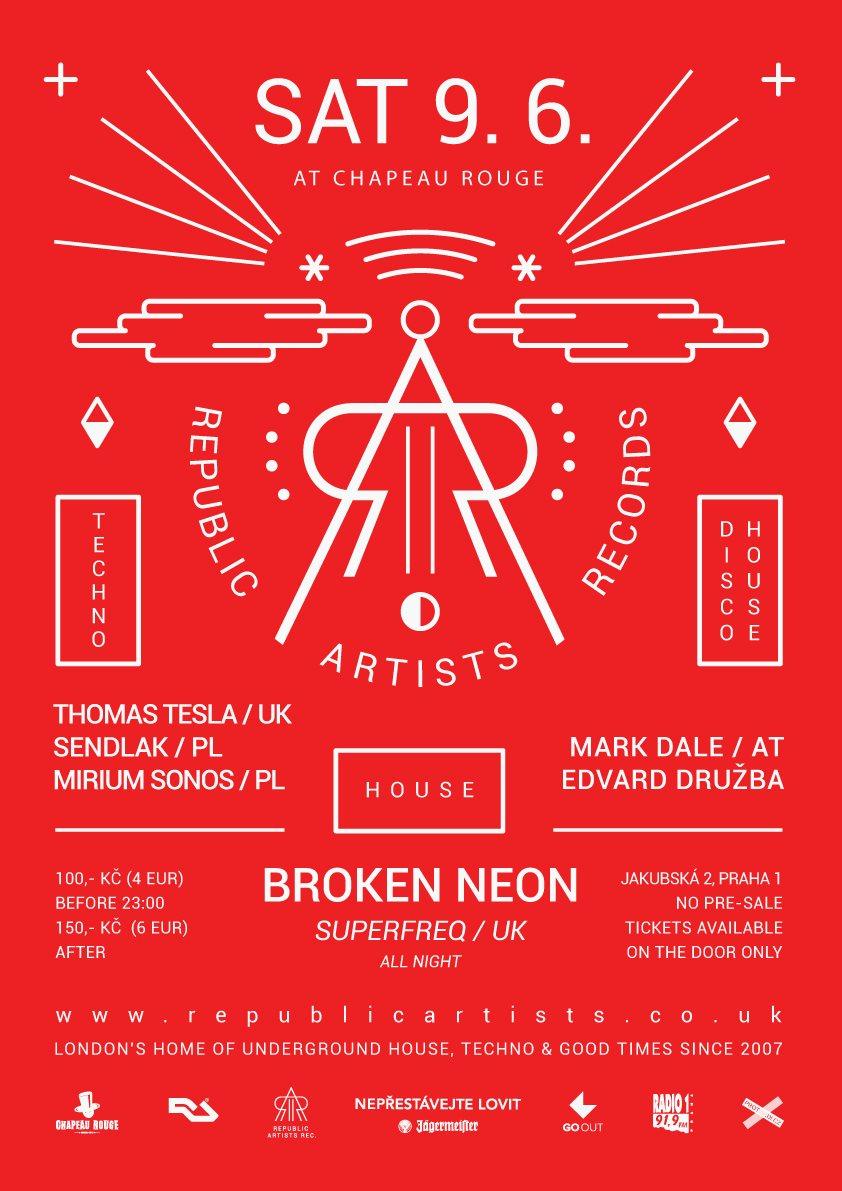 Republic Artists with Broken Neon UK - Flyer back
