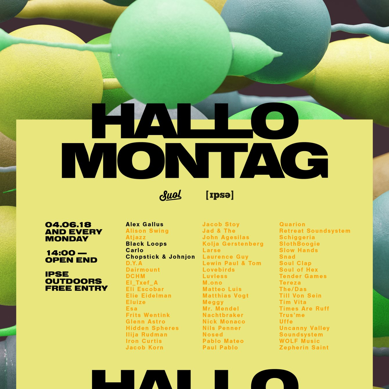Hallo Montag - Open Air #06 with Chopstick & Johnjon, Black Loops and More - Flyer front