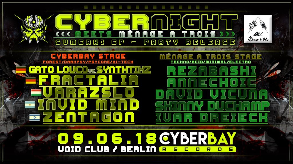 Cyberbay-Night Meets Ménage A Trois - Flyer front