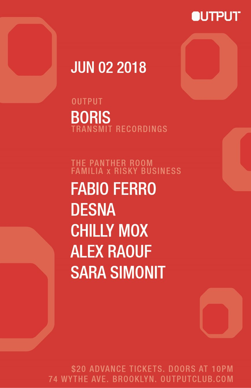Boris at Output and Familia x Risky Business in The Panther Room - Flyer front
