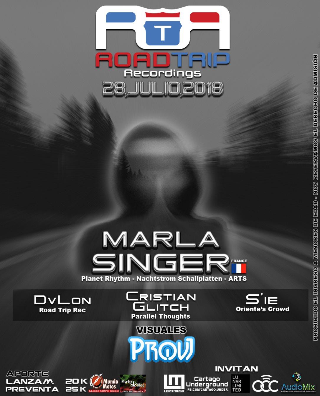 Road Trip Pres. Marla Singer en Cartago - Flyer front