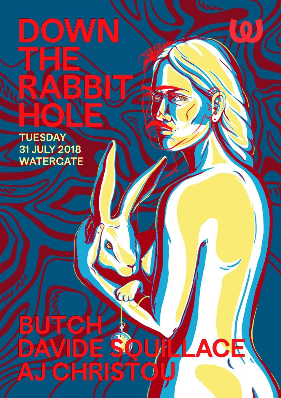 Down The Rabbit Hole: Butch, Davide Squillace, AJ Christou - Flyer front