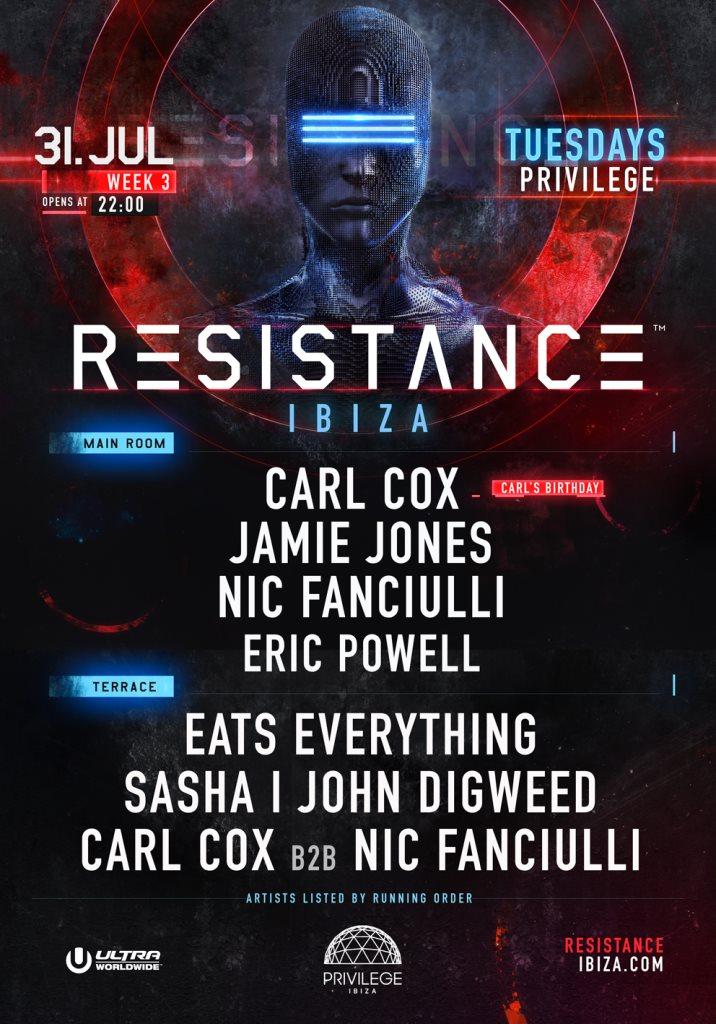 Resistance Ibiza Week 3 - Carl's Birthday - Flyer back