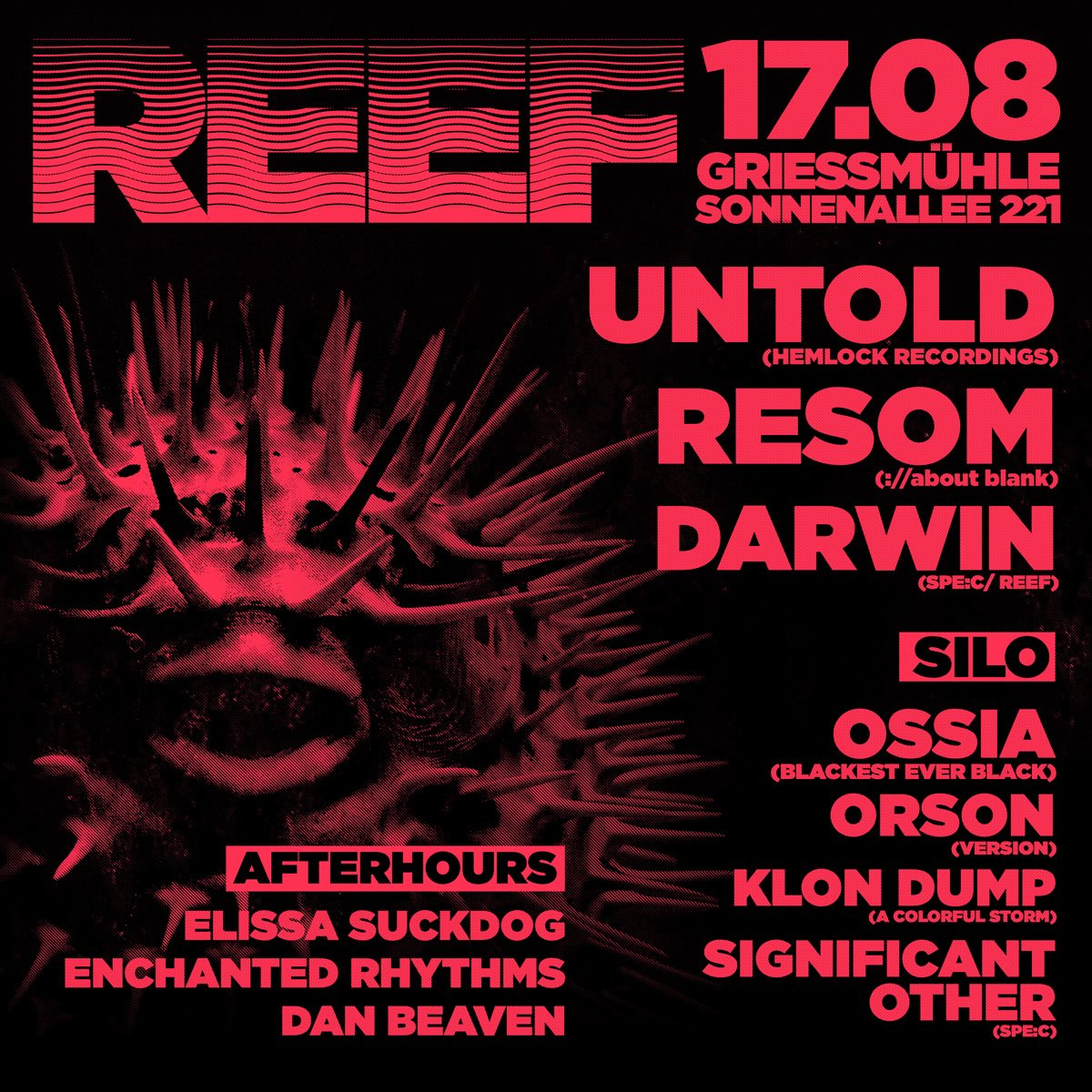 Reef with Untold, Resom, Ossia, Orson - Flyer front