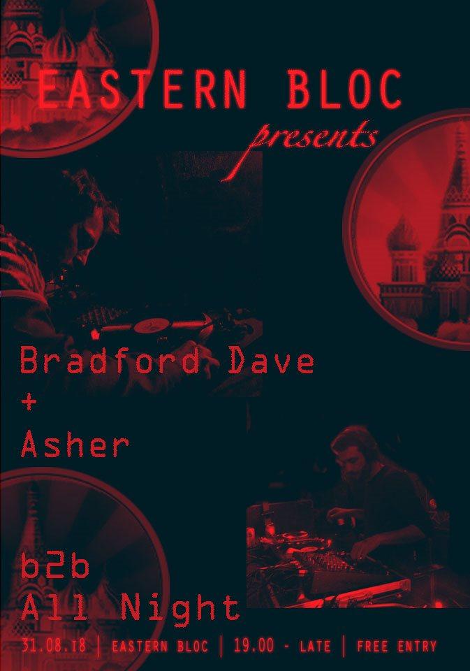 Eastern Bloc presents Bradford Dave & Asher - Flyer front