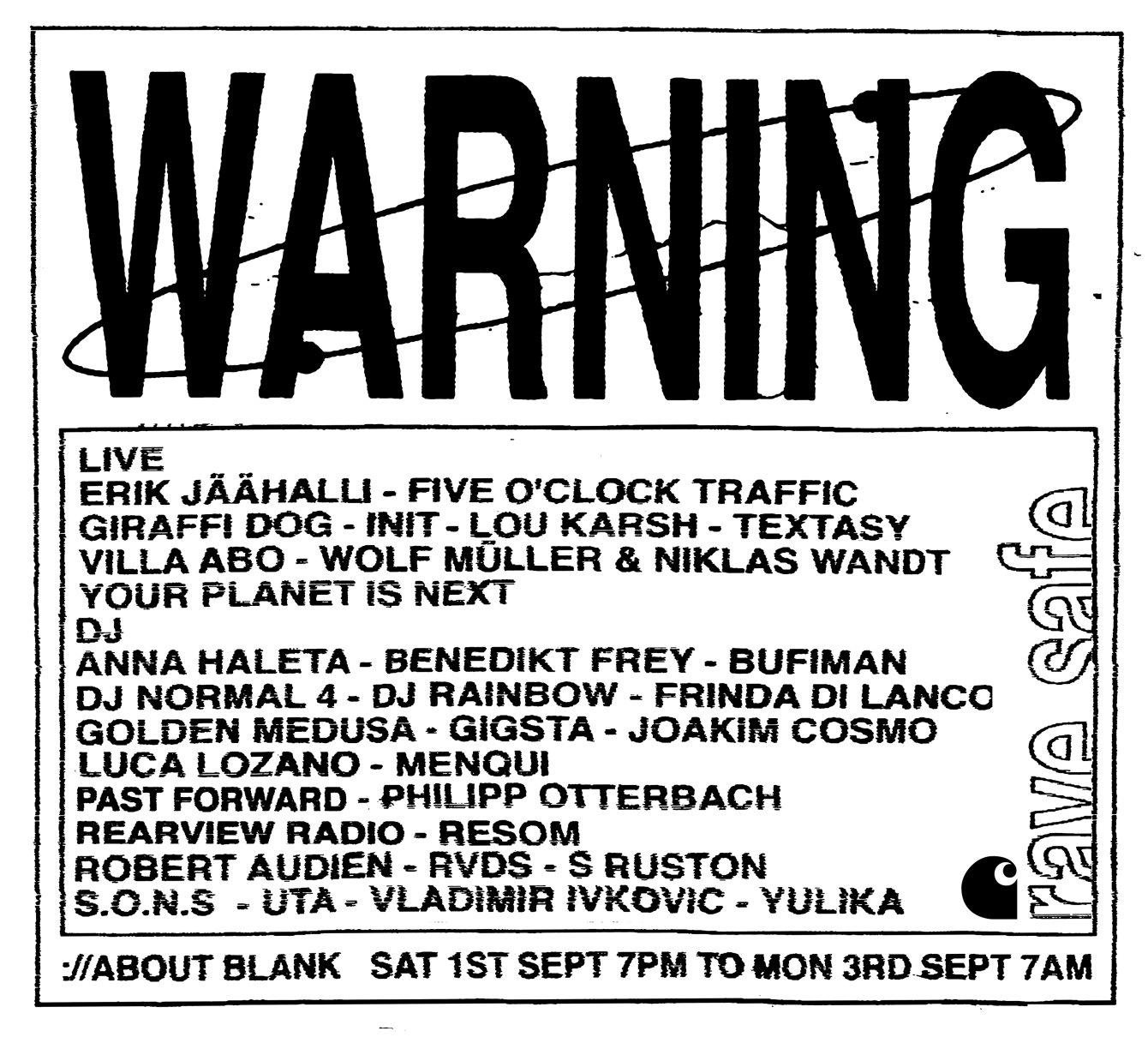 Warning [Sat. – Mon.] - Flyer back
