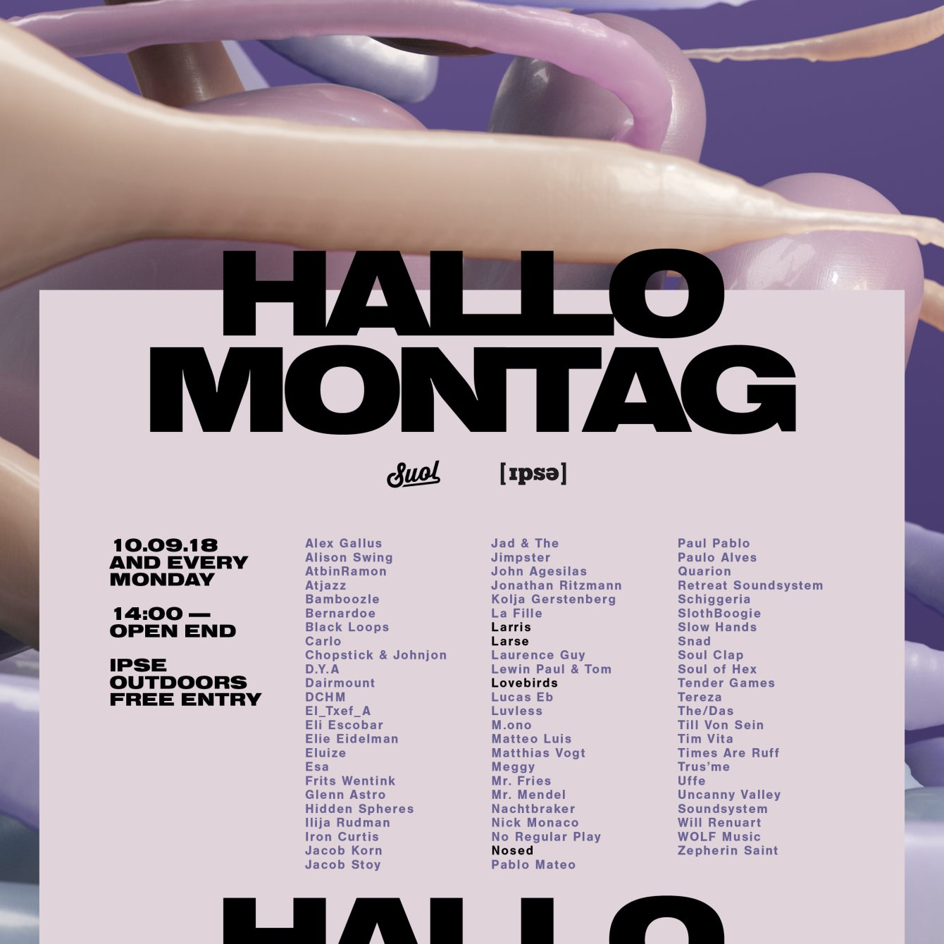 Hallo Montag - Open Air #20 with Lovebirds & Larse, Special Guest, Nosed - Flyer front