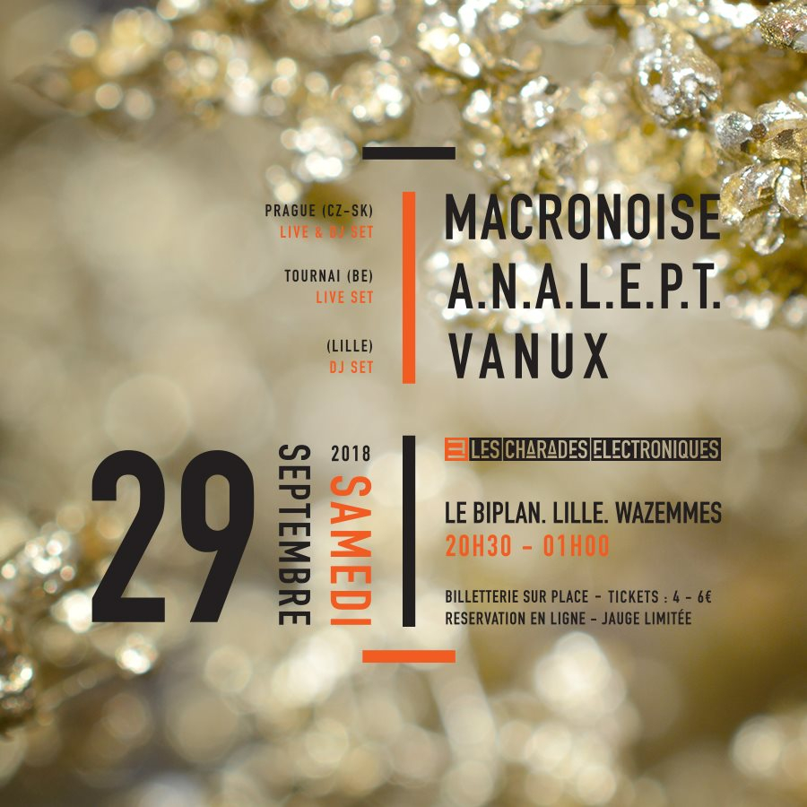 Macronoise, Analept, Vanux - 3 Years Birthday LCE - Flyer front