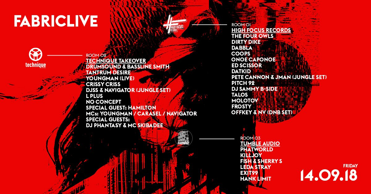 FABRICLIVE: High Focus Records, Technique & Tumble Audio - Flyer front