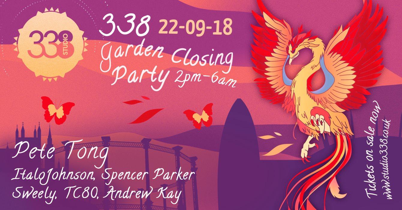 Studio 338 Garden Closing Party - Flyer front