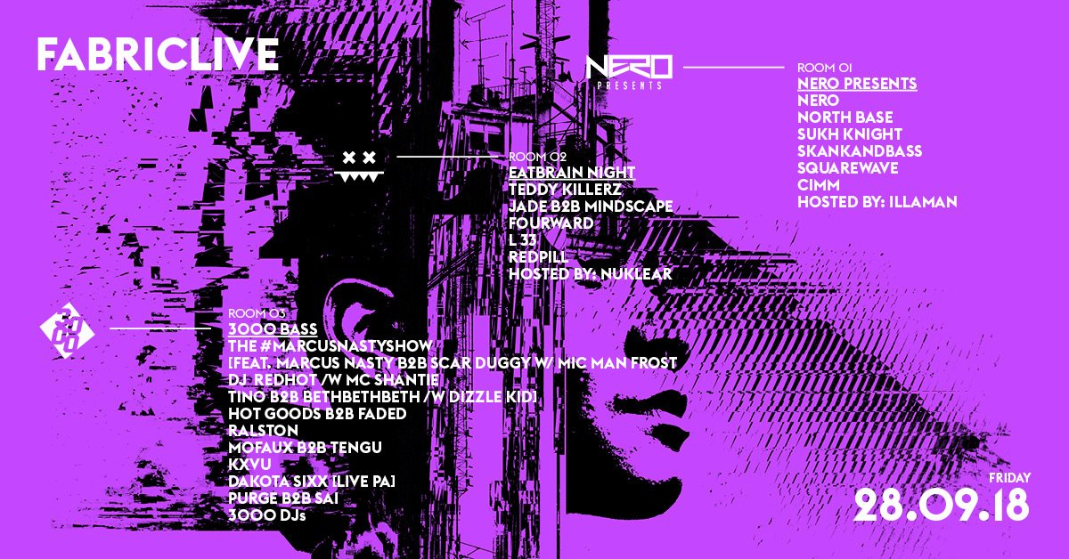 FABRICLIVE: Nero Presents, Eatbrain Night & 3000 Bass - Flyer front