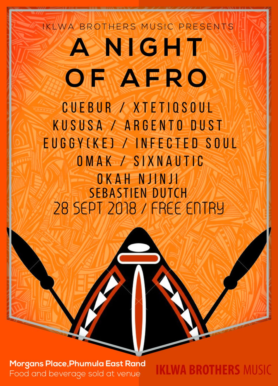 Iklwa Brothers Music presents 'A Night Of Afro' - Flyer front