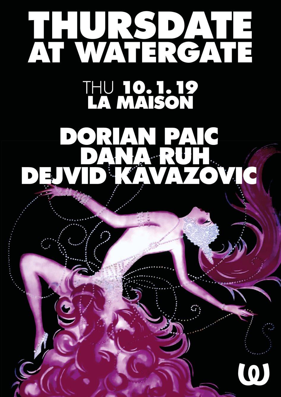 Thursdate: La Maison with Dorian Paic, Dana Ruh, Dejvid Kavazovic - Flyer front
