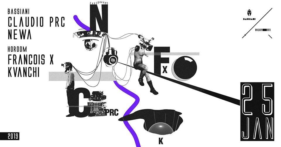 Bassiani / Horoom: Claudio PRC ■ Newa ■ Francois X ■ Kvanchi - Flyer front