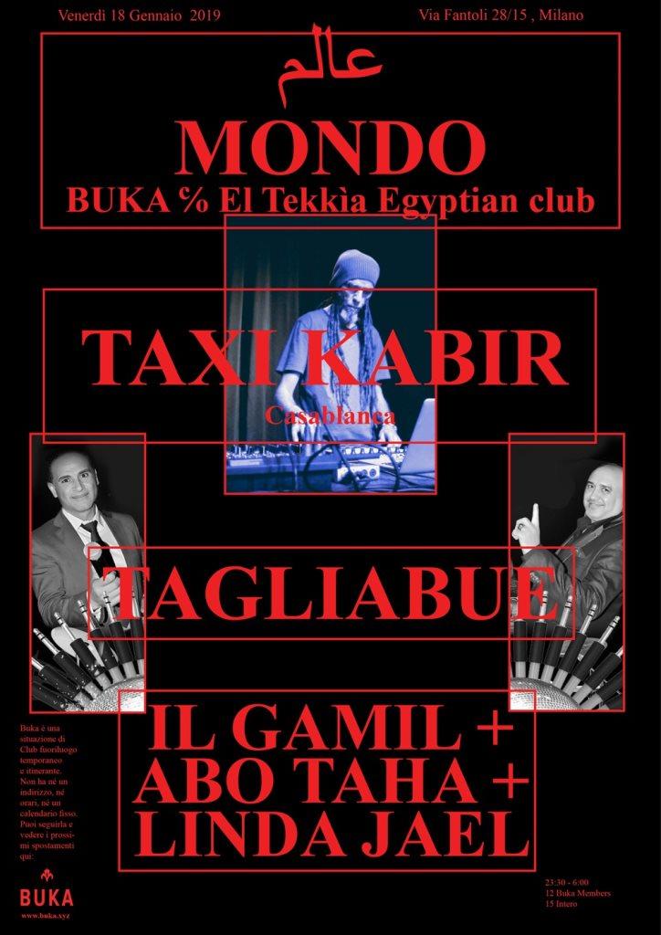 BUKA - Mondo con Taxi Kabir - Flyer front