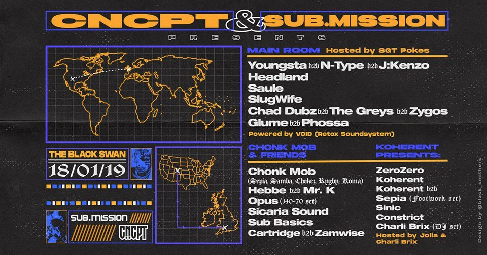 CNCPT x Sub.Mission Round II: Youngsta, J:Kenzo, N-Type - Flyer front