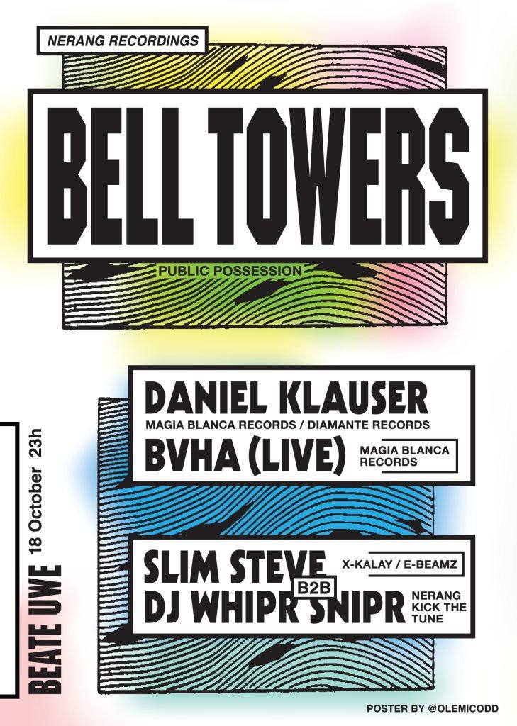 Nerang Pres / Bell Towers, Daniel Klauser, Bvha, Slim Steve, Dj Whipr Snipr - Flyer front