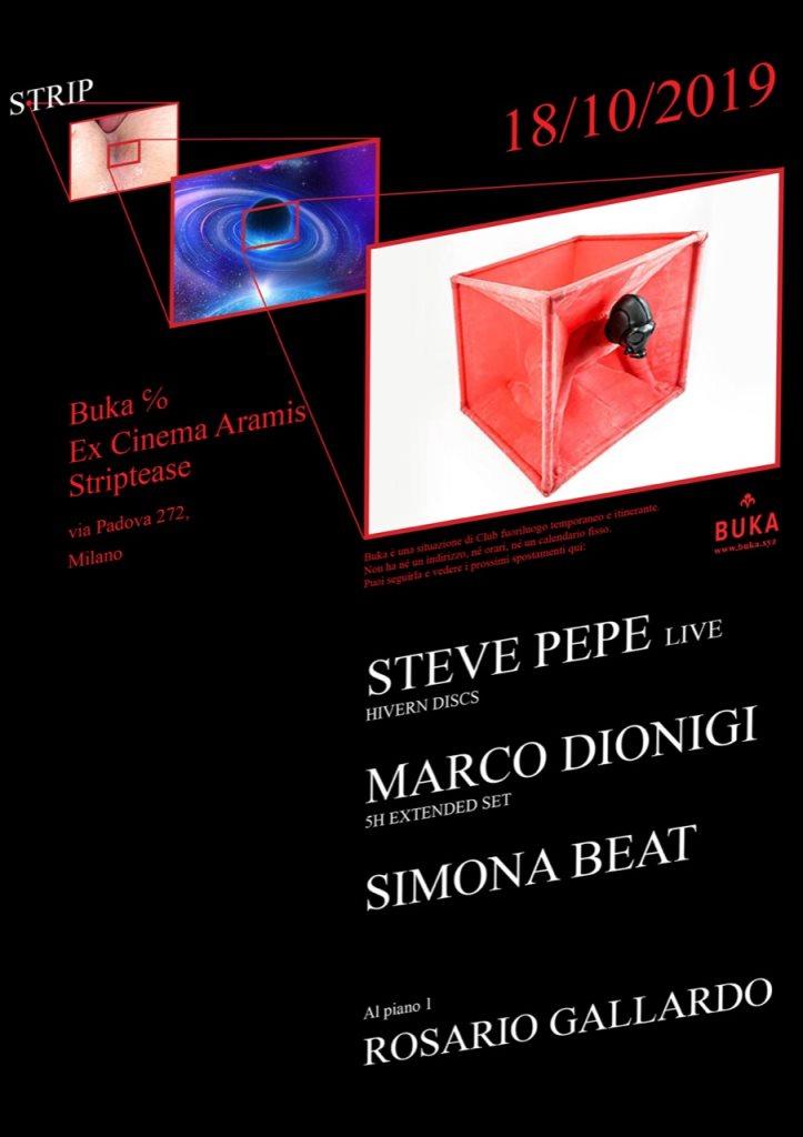 BUKA - Strip: Steve Pepe (Live), Marco Dionigi, Simona Beat, Rosario Gallardo - Flyer front